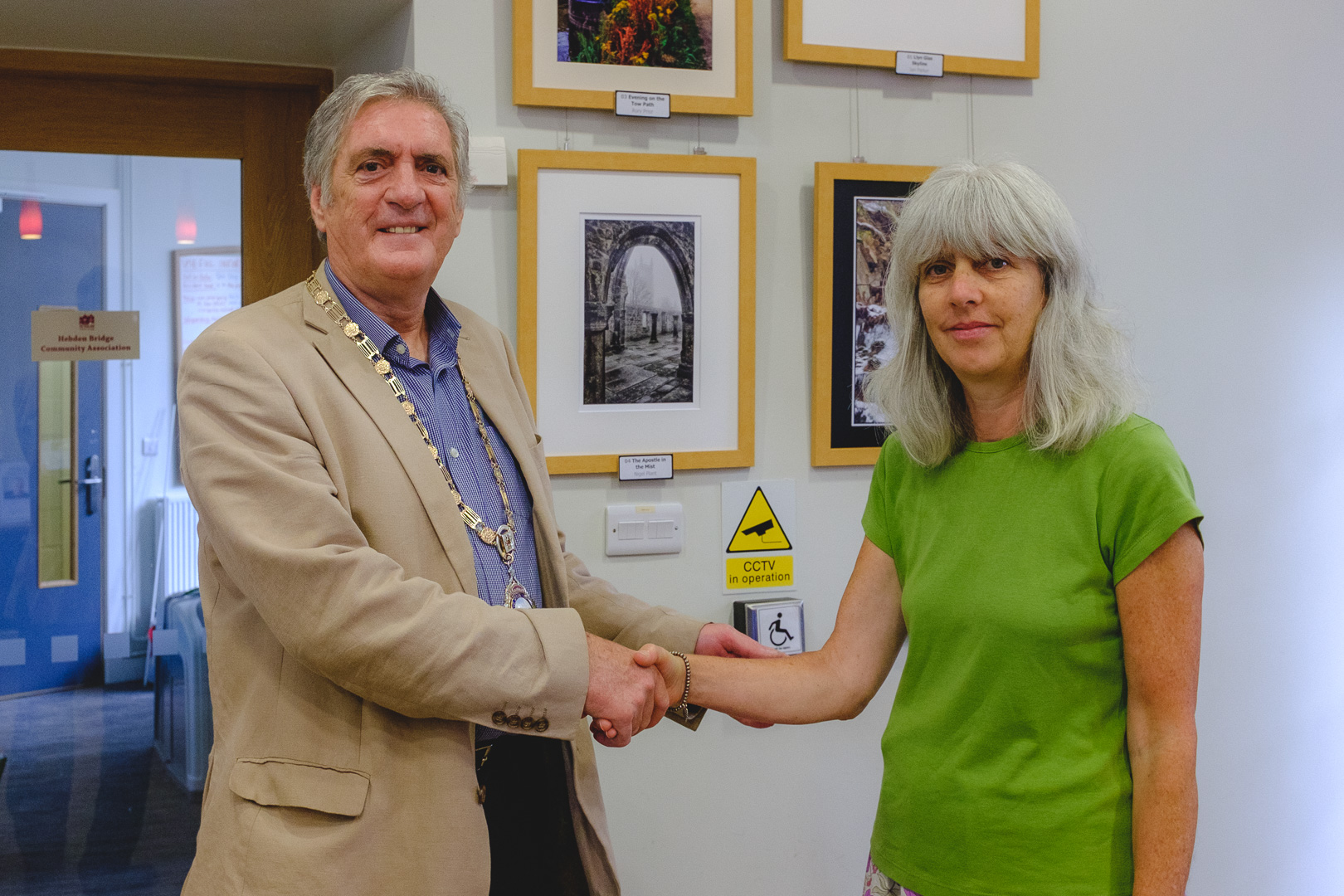 Hebden Royd mayor Tony Hodgins opens the exhibition with club president Judith Baron.