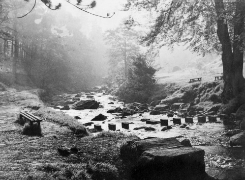 Hardcastle Crags, Hebden Bridge. By John Woodhead (Print slightly deteriorated)